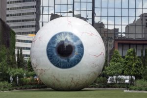 The giant eye sculpture in Dallas.